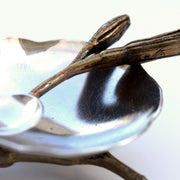 Handmade Salt Cellar or tiny serving dish in Sterling Silver and cast lily bud harvested in Greenville SC, detail of dish and spoon