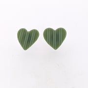 Celadon Heart Stud Earrings
