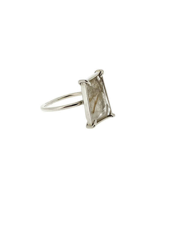 Rectangular Rutilated Quartz Ring