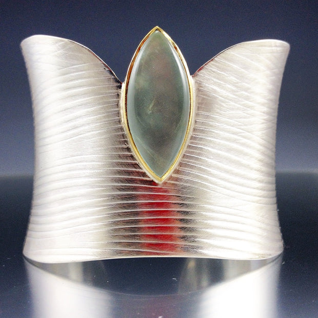 Wide Cuff With Marquise Aquamarine