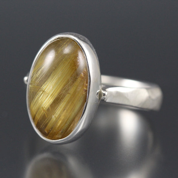 Golden Rutilated Quartz Chiseled Ring