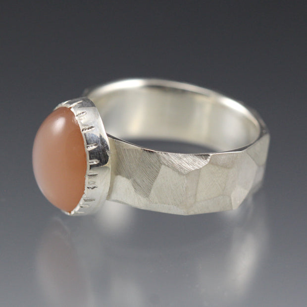 Peach Moonstone Chiseled Ring