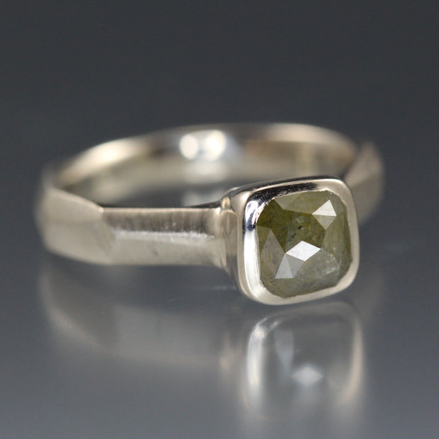 Olive Green Rose Cut Diamond Ring