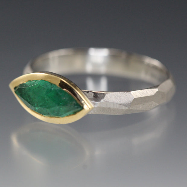 Marquise Rose Cut Emerald Chiseled Ring