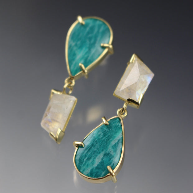 Amazonite + Moonstone Asymmetrical Earring