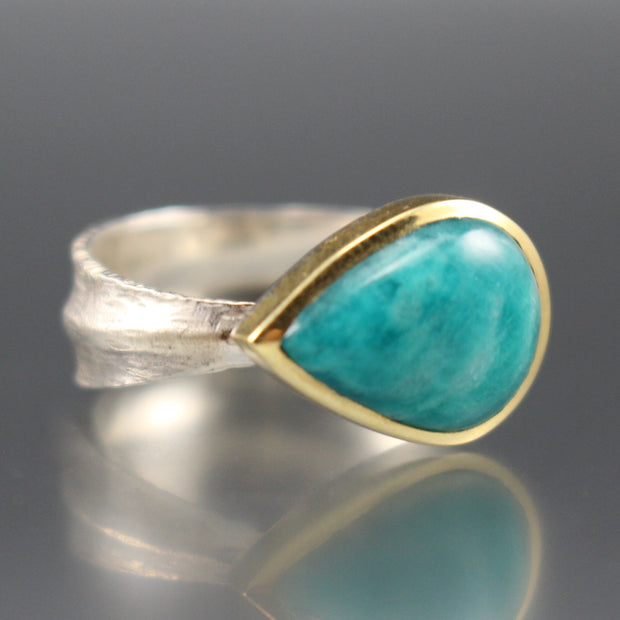 Amazonite Leaf Ring