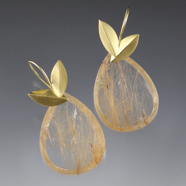 Gold Rutile Quartz Earrings
