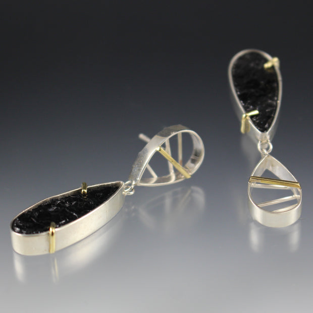 Asymmetrical Earring With Black Tourmaline