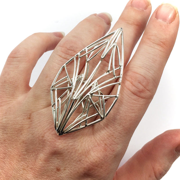 Statement Petal Openwork Ring