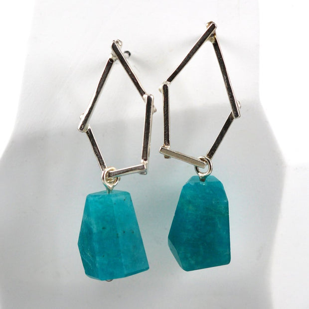 Small Sticks And Stone Earrings - Amazonite