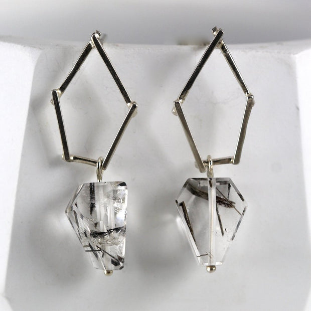 Small Sticks And Stone Earrings - Tourmalinated Quartz