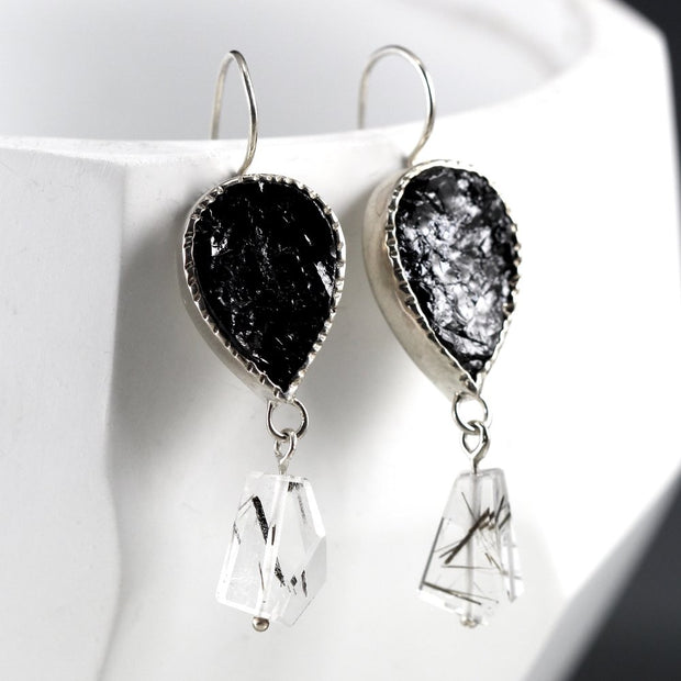 Black Tourmaline & Tourmalated Quartz Earring