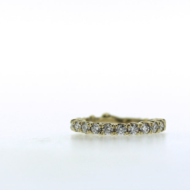 2mm diamond engagement half eternity band with unique organic texture and side viewing