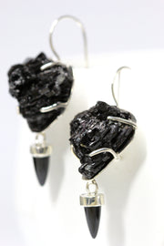 Black Tourmaline & Onyx Earring