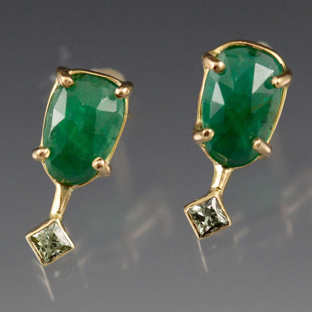 Emerald And Green Sapphire Earring