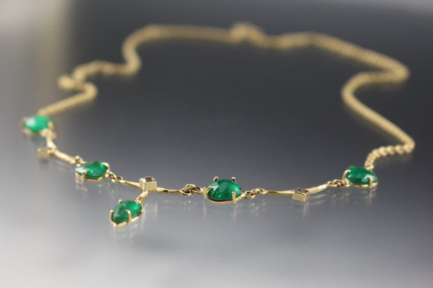 Emerald And Green Sapphire Necklace