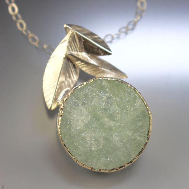 Raw Aquamarine - Falling Leaves Pendant