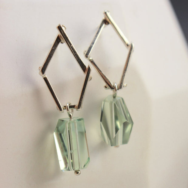 Small Sticks And Stone Earrings - Prasiolite