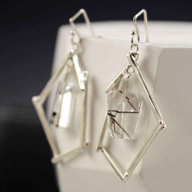 Sticks And Stone Earrings - Tourmalated Quartz