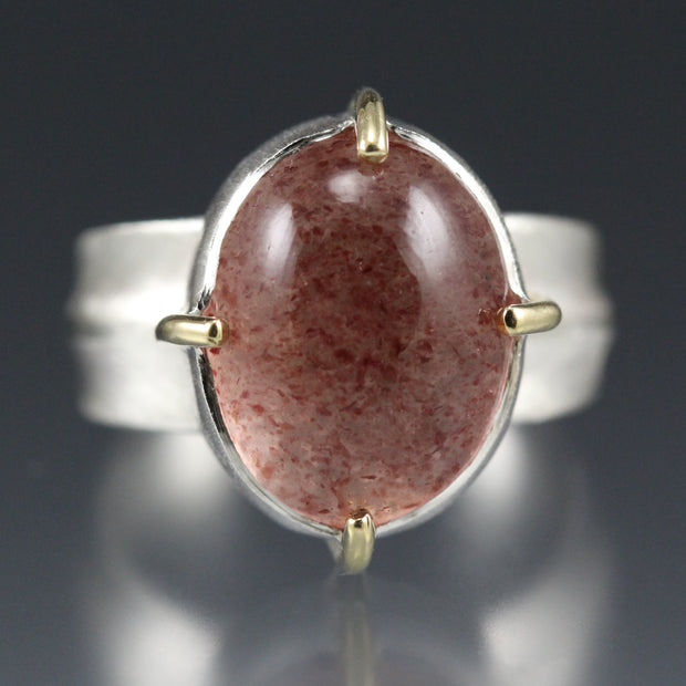 Strawberry Quartz Ridge Ring