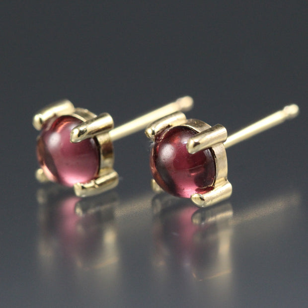 Rhodolite Garnet - Round Stud Earrings