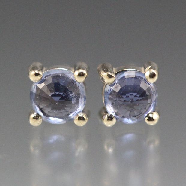 Blue Sapphire - Round Stud Earrings
