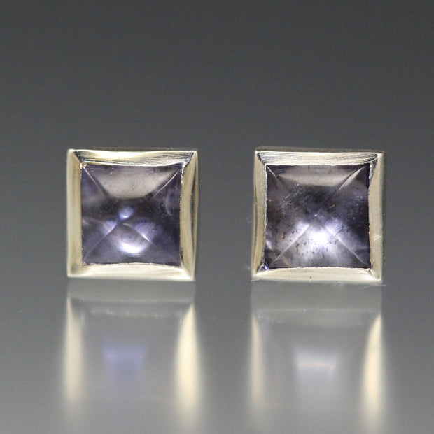 Square Stud Earrings - Iolite