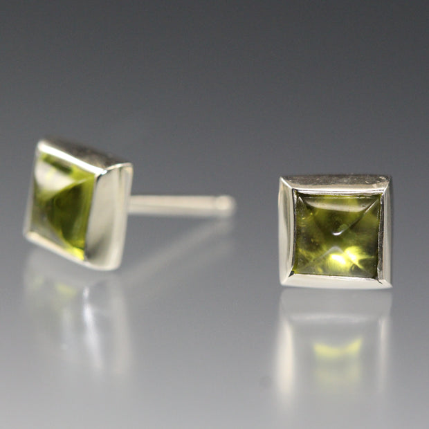 Square Stud Earrings - Peridot
