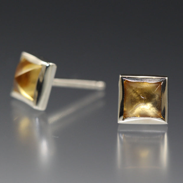 Square Stud Earrings - Citrine
