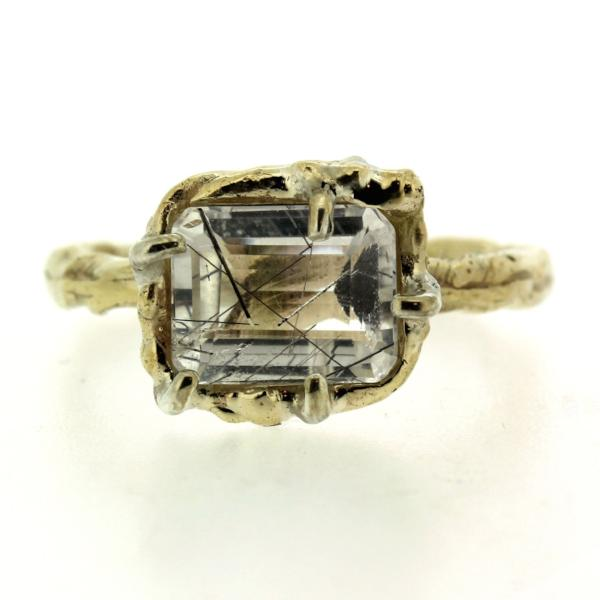 14k yellow gold and Tourmalated Quartz Cocktail Ring having a soft organic quality.