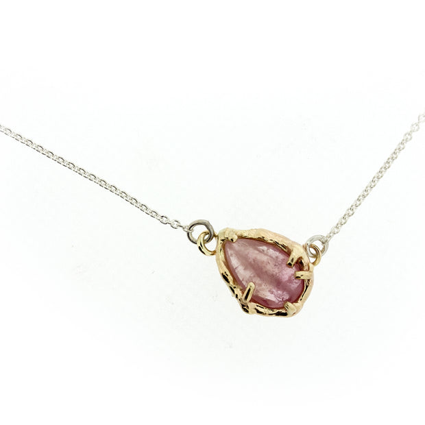 Peach Umba Sapphire Necklace - Silver Chain