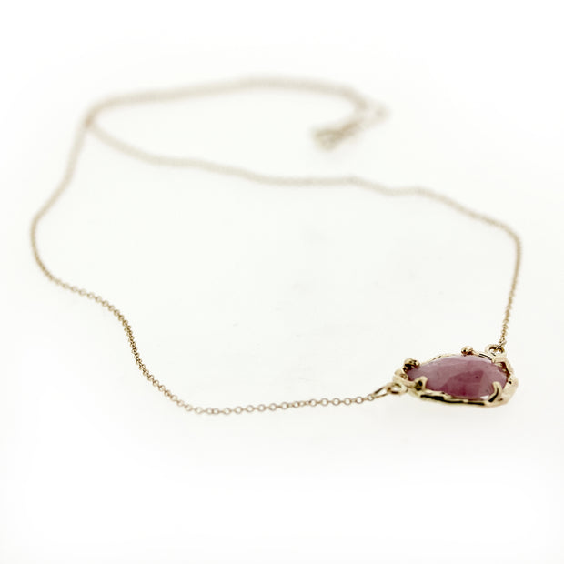 Large Peach Umba Sapphire Necklace - 14K Chain