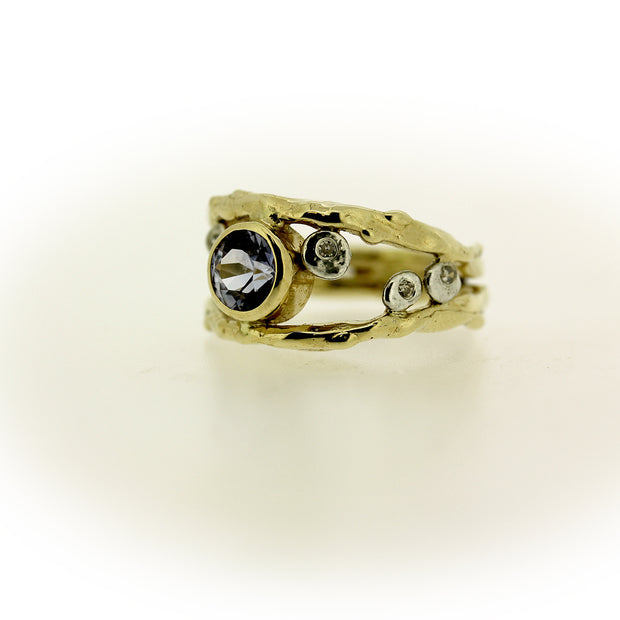 Color change sapphire, diamond, and 18K gold organic ring by Katie Poterala Jewelry, side view