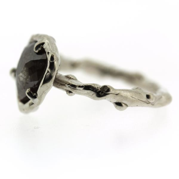 Side view of a earthy rose cut diamond ring handmade by Katie Poterala