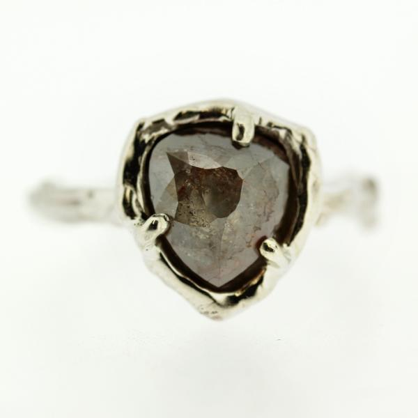 Rustic Rose Cut Diamond Ring in Recycled 14k White Gold designed by Katie Poterala