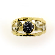 Color change sapphire, diamond, and 18K gold organic ring by Katie Poterala Jewelry