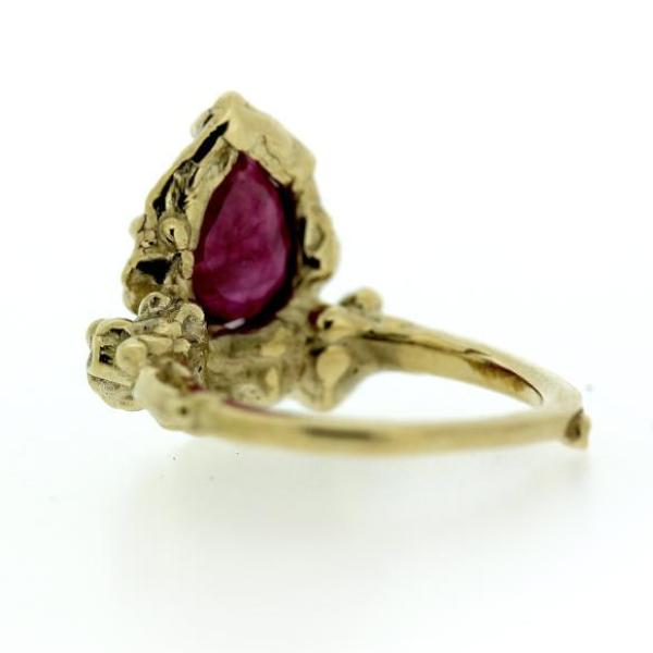 Detail image of organic ruby and gold ring