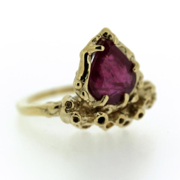 Handmade Ruby and 14k gold ring inspired by coral reefs