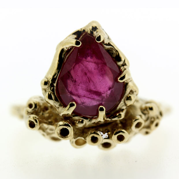 Coral inspired Ruby and gold ring made by Katie Poterala