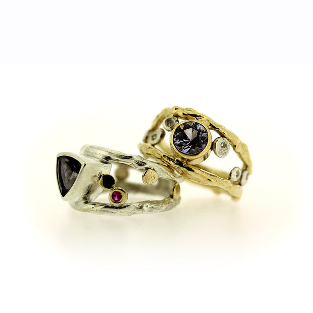Rings in Sapphire and Iolite with Diamonds and Rubies, stacked, by Katie Poterala Jewelry Studio