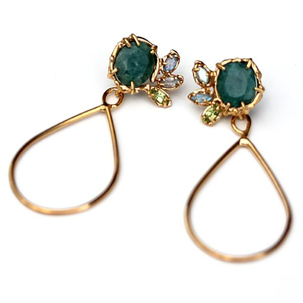 Rose Cut Emerald and Gold Dangle Earrings with labradorite and peridot accents
