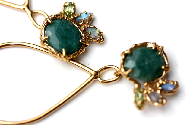 Detail of Organic Emerald and Gold Dangle Earrings with labradorite and peridot accents