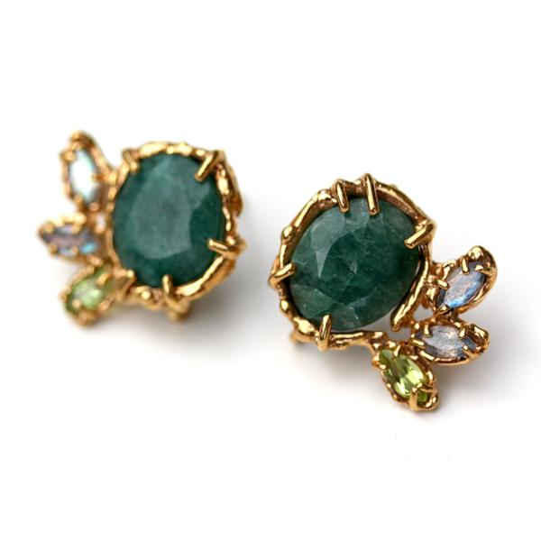 Organic Emerald and Gold Stud Earrings with labradorite and peridot accents