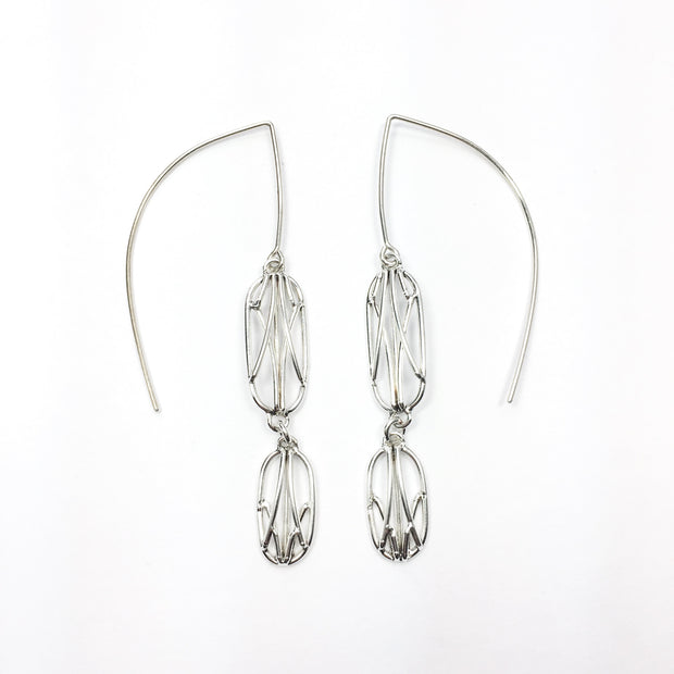 Small Double Dangling Openwork Earrings