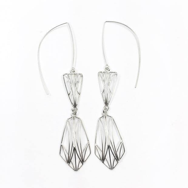 Large Double Dangling Openwork Earrings
