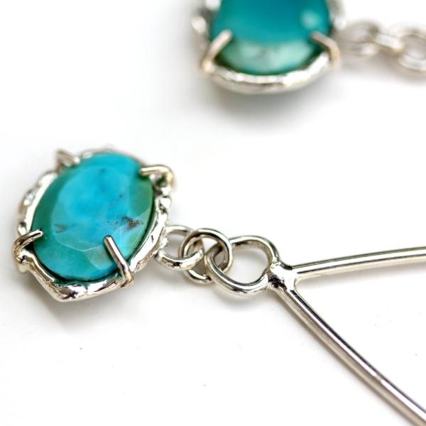 Detail photo of a sterling silver and turquoise earring with organic textures.