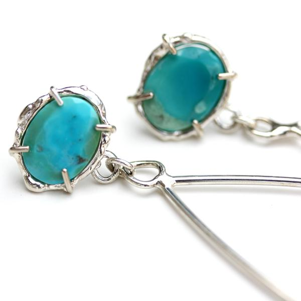 Detail photo of organic prong set Turquoise and sterling silver earrings.
