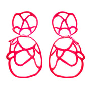 Double Lace Earrings - Hot Pink