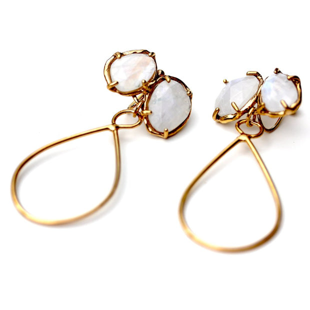 Organic earring with prong set Rainbow Moonstone and gold