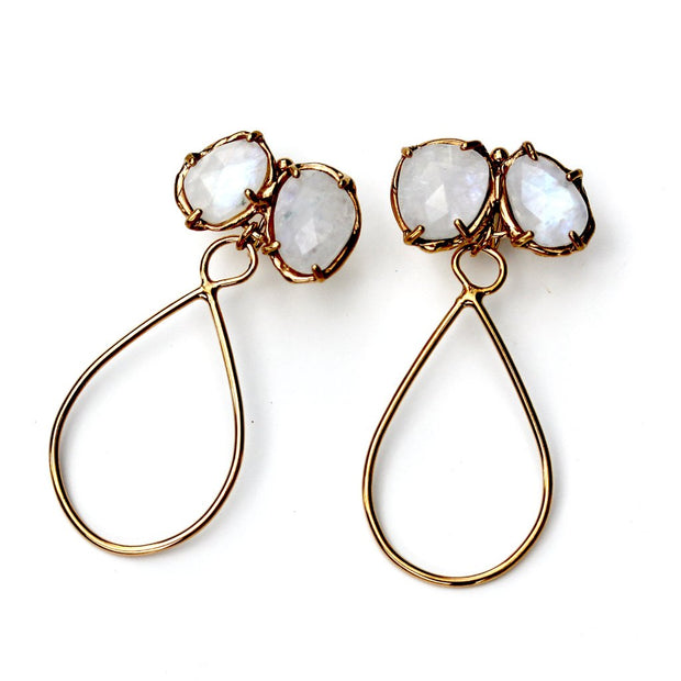 Prong set rose cut Rainbow Moonstone dangle earring in gold